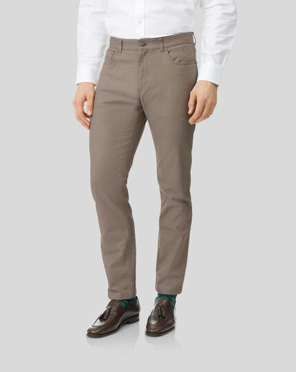 Textured Dobby 5 Pocket Pants - Tan