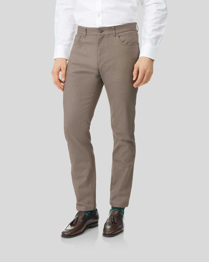 Textured Dobby 5 Pocket Trouser - Tan