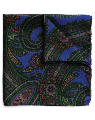 Green wool silk paisley print Italian pocket square