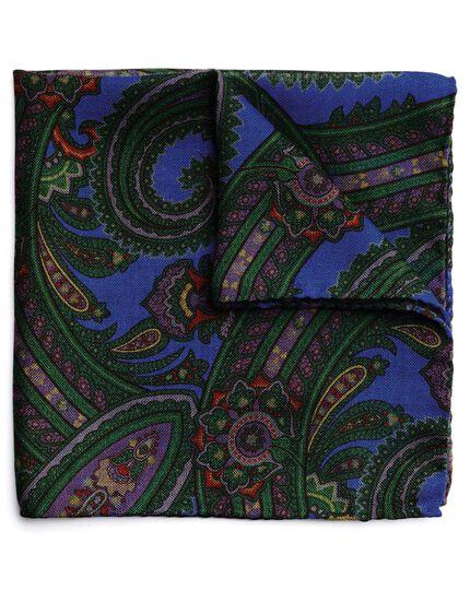 Green wool silk paisley print Italian pocket square
