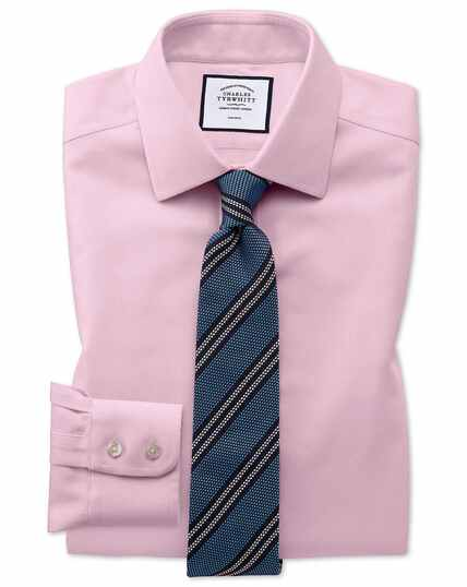 Classic fit non-iron pink arrow weave shirt