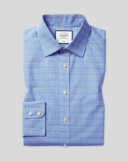 Classic Collar Non-Iron Prince Of Wales Shirt - Blue & Gold