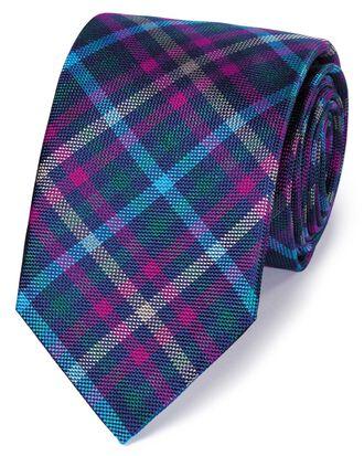 Cravate de luxe bleue et rose en soie anglaise à carreaux multicolores