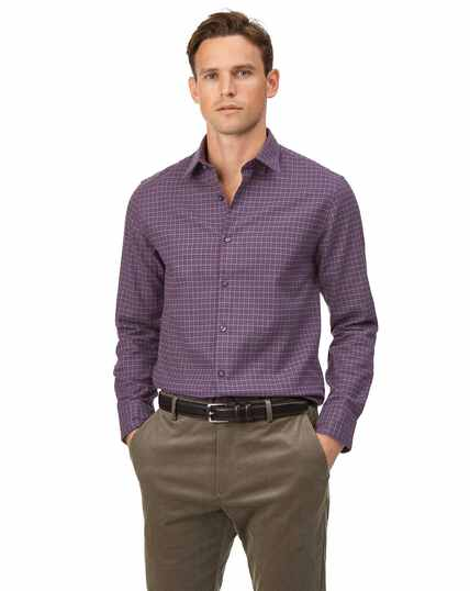 Extra Slim Fit Hemd aus Baumwolle/TENCEL™ mit Karos in Violett & Bunt