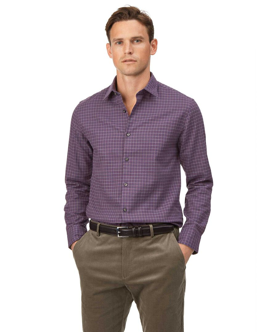Extra slim fit purple check cotton with TENCEL™