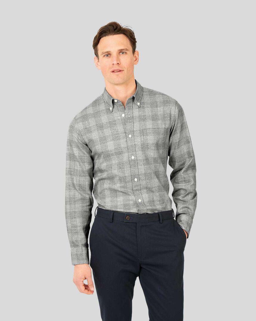Button-Down Collar Non-Iron Twill Prince of Wales Check Shirt - Grey