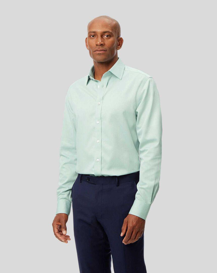 Bügelfreies Hemd mit Kent-Kragen und Micro-Diamond-Muster - Grün