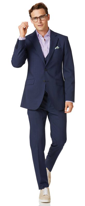 Costume bleu marine slim fit à tissage échelle