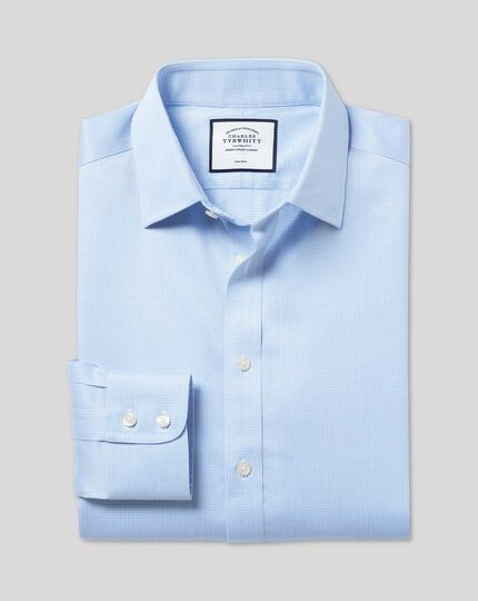 Non-Iron Puppytooth Shirt - Sky