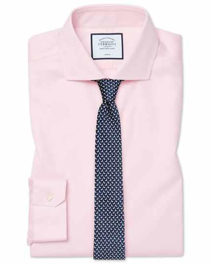 Roze strijkvrij stretchkatoenen Oxford-overhemd met cutaway-kraag, superslanke pasvorm