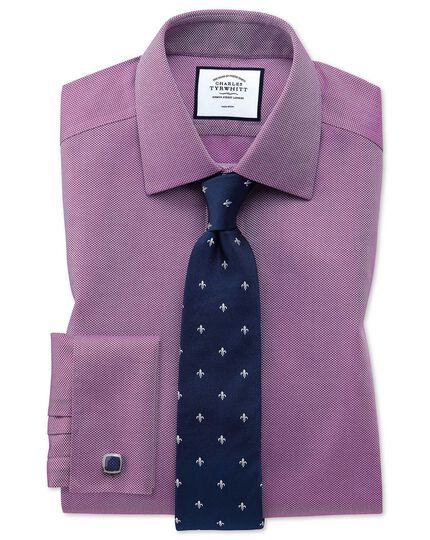 Extra slim fit non-iron berry arrow weave shirt