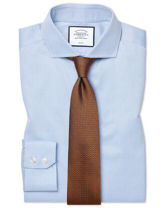 Slim fit non-iron cutaway sky blue puppytooth shirt