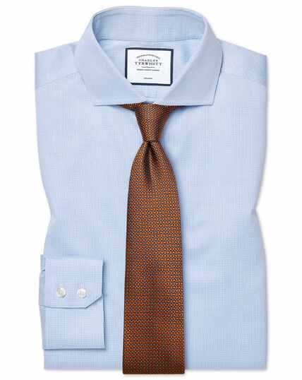 Slim fit non-iron spread collar sky blue puppytooth shirt