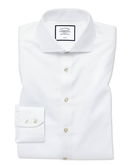 Extra slim fit white non-iron twill spread collar shirt