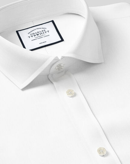 Cutaway Collar Non-Iron Twill Shirt - White