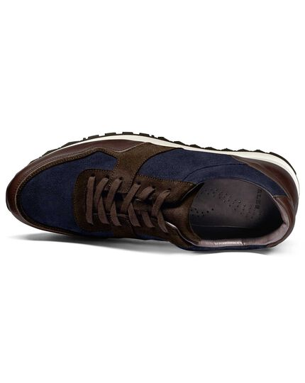 Navy and brown trainer