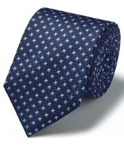 Blue silk three colour puppytooth stain resistant classic tie