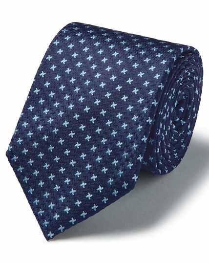 Blauwe vlekbestendige klassieke zijden stropdas met driekleurig pied-de-pouleruitje