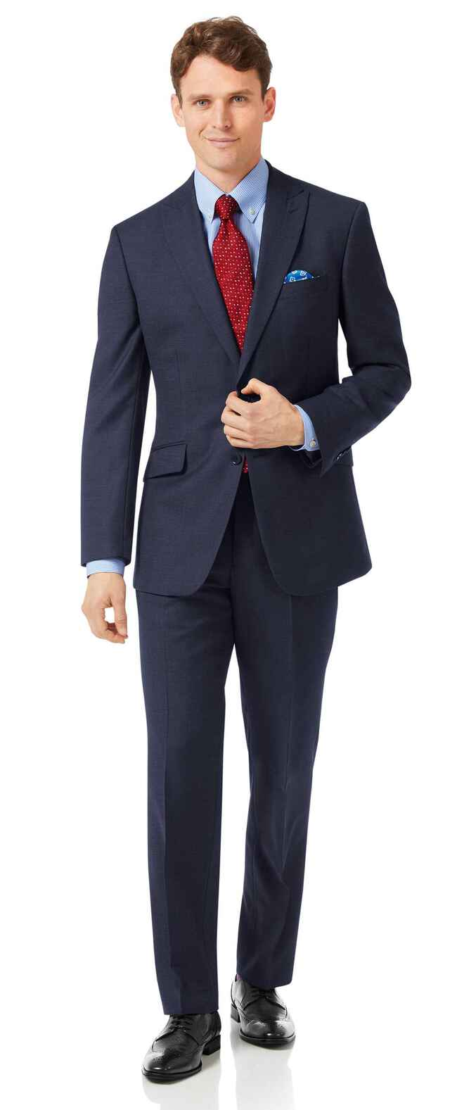 Business-Anzug Classic Fit Jaspégarn Marineblau