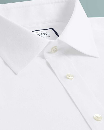 Extra slim fit non-iron white triangle weave shirt