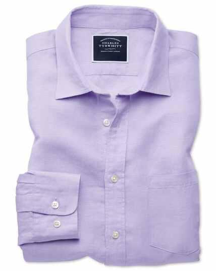 Slim Fit Tencel™/Leinen Hemd in Lila