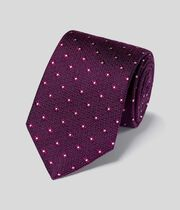 Silk Wool Textured Classic Tie - Magenta