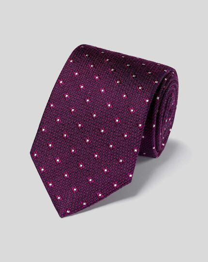 Silk Wool Textured Tie - Magenta