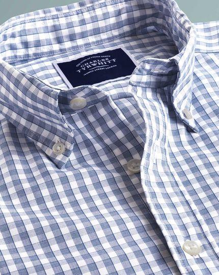 Chemise Tyrwhitt Cool bleu marine slim fit à carreaux vichy et manches courtes à délavage doux sans repassage