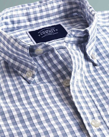 Slim fit navy short sleeve gingham soft washed non-iron Tyrwhitt Cool shirt