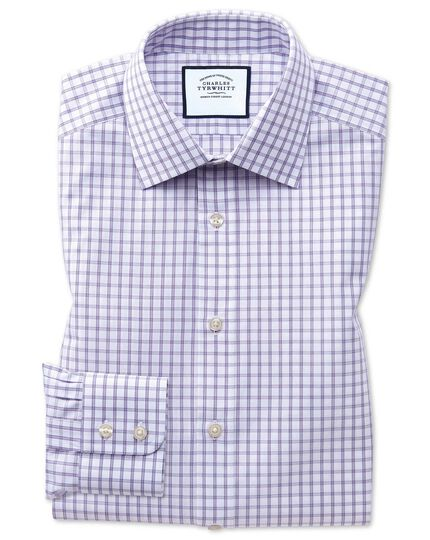 Classic fit purple windowpane check shirt