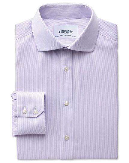 Slim fit cutaway collar non-iron mouline stripe lilac shirt