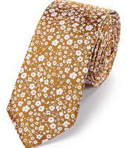 Cravate slim classique jaune foncé en soie fil à fil à motif floral