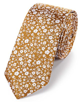 Dark yellow silk slim end-on-end floral classic tie