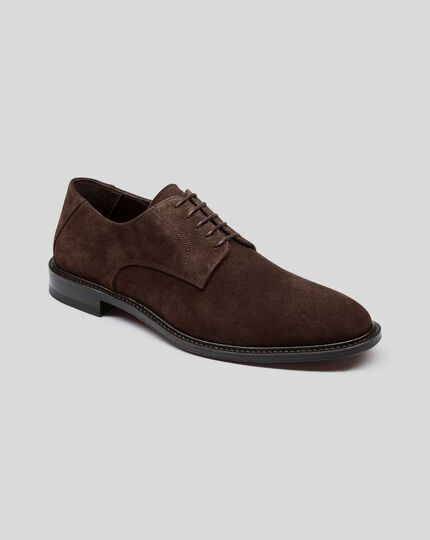 Flexible Sole Suede Derby Shoe - Chocolate
