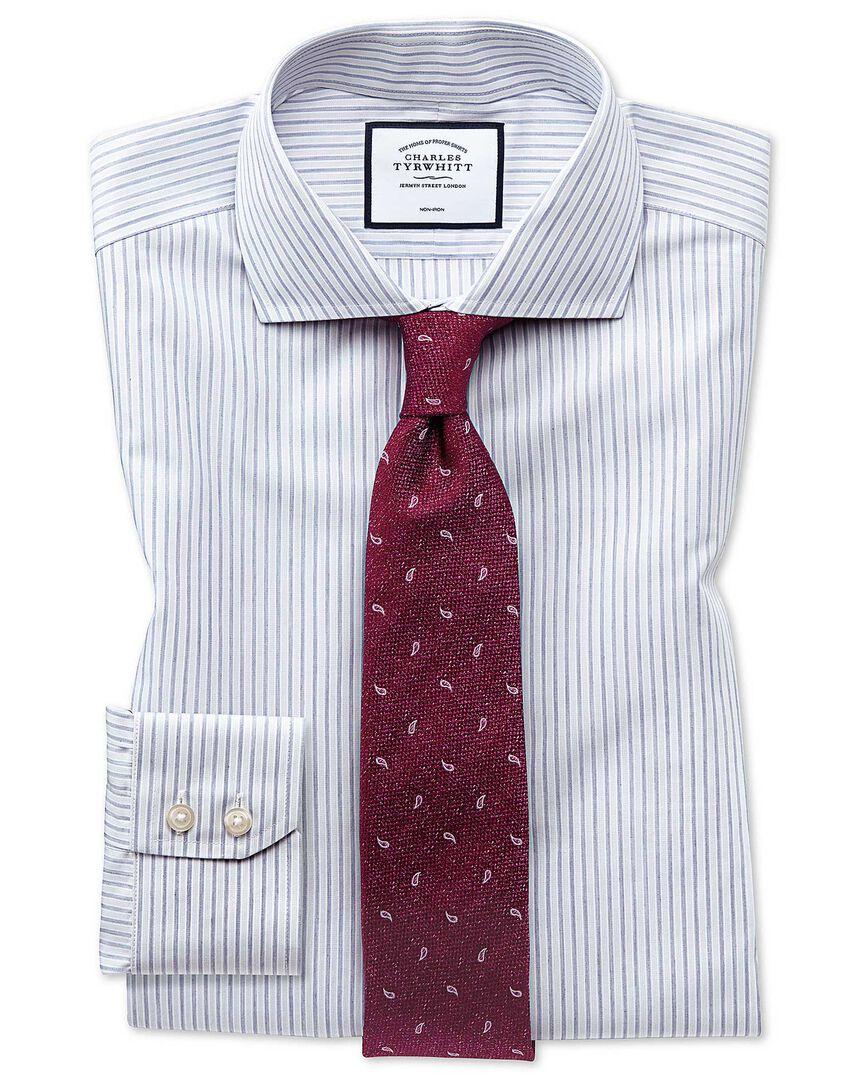 Extra slim fit non-iron shadow stripe grey shirt