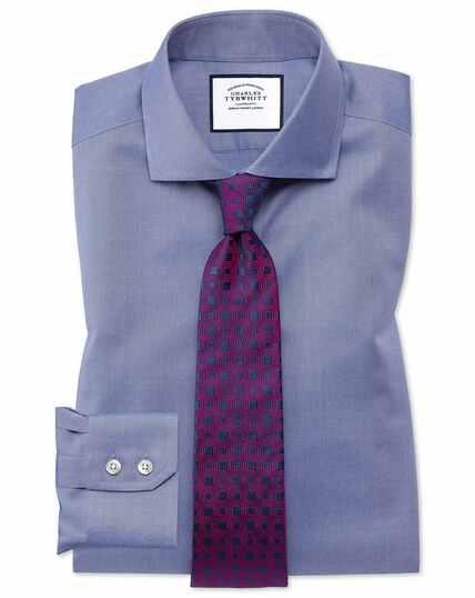 Slim fit mid-blue non-iron twill cutaway collar shirt