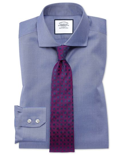 Slim fit mid-blue non-iron twill cutaway collar shirt