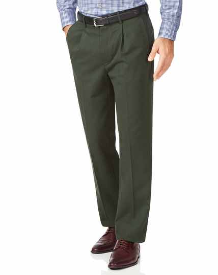 Dark green classic fit single pleat non-iron chinos