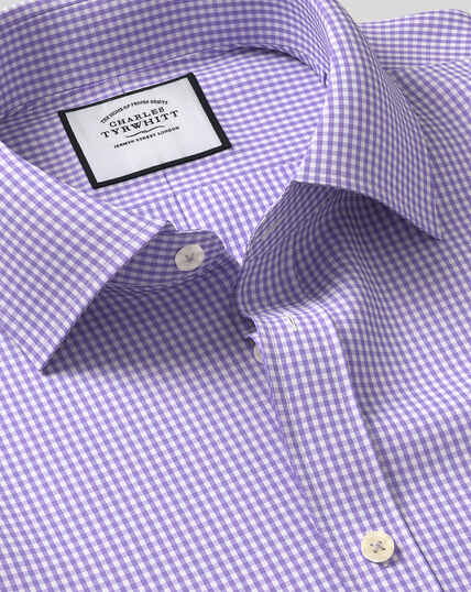 Classic Collar Gingham Shirt - Purple