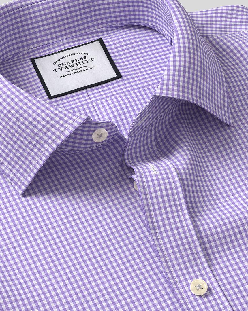 Classic Collar Gingham Shirt - Purple