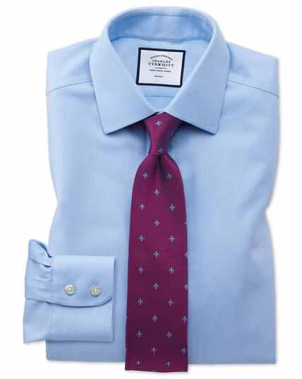 Extra slim fit non-iron sky blue arrow weave shirt