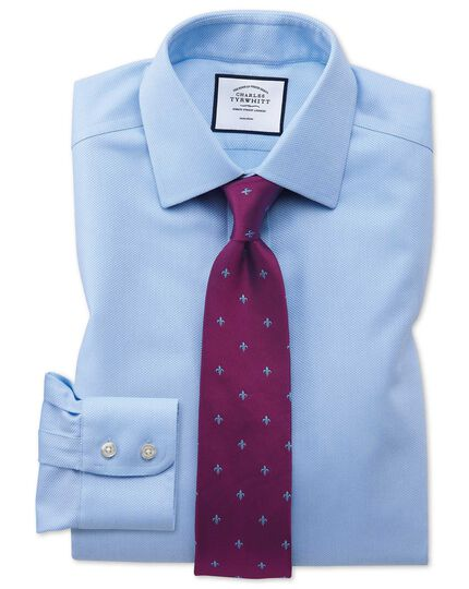 Extra slim fit non-iron sky blue arrow weave shirt