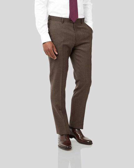 Semi-Plain Suit Pants - Brown