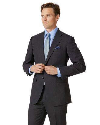 Charcoal classic fit birdseye travel suit jacket