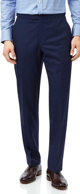 Pantalon de costume de luxe en tissu anglais bleu coupe droite
