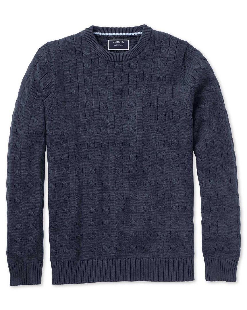 Navy Pima cotton cable crew neck sweater