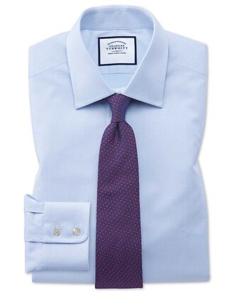Classic fit sky blue cube weave Egyptian cotton shirt