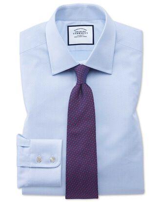 Classic Fit Hemd aus ägyptischer Baumwolle mit Panamabindung in Himmelblau