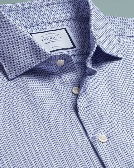 Classic fit non-iron natural stretch blue shirt
