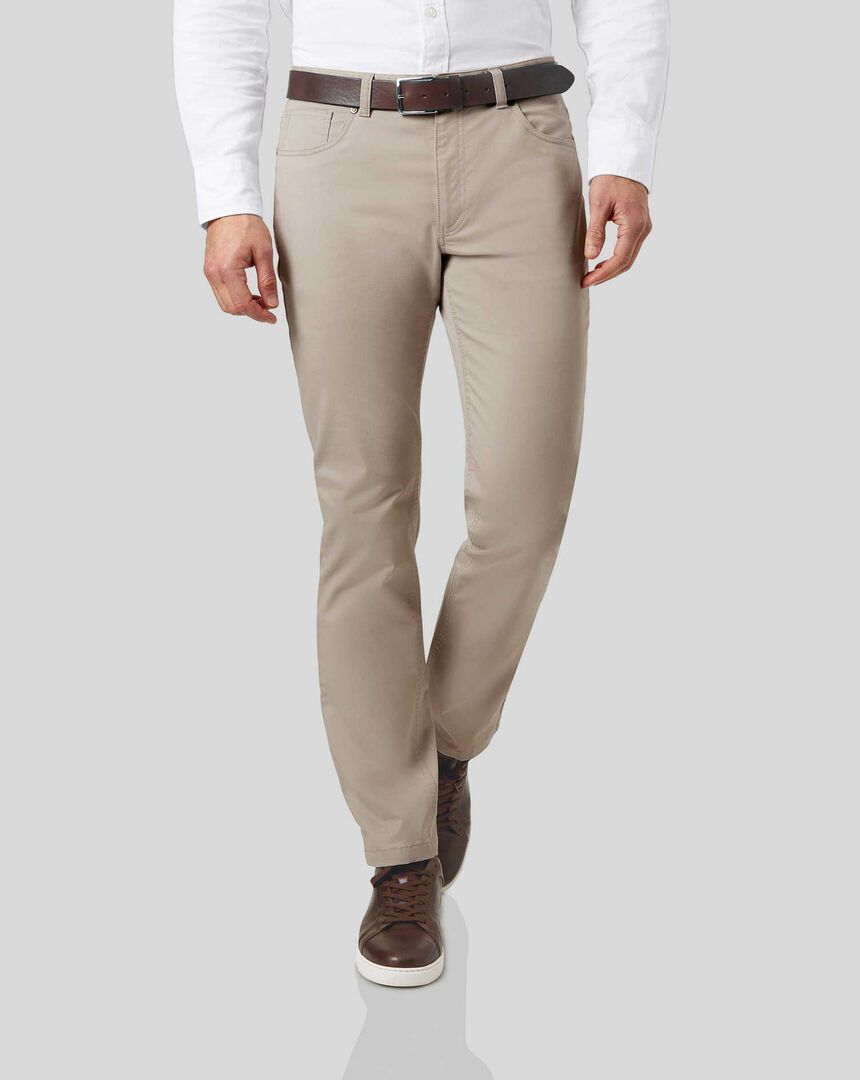 Cotton Stretch 5-Pocket Trousers - Stone